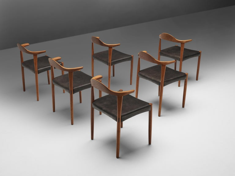 Set of Six Danish 'Cow Horn' Dining Chairs in Teak and Black Leather 5