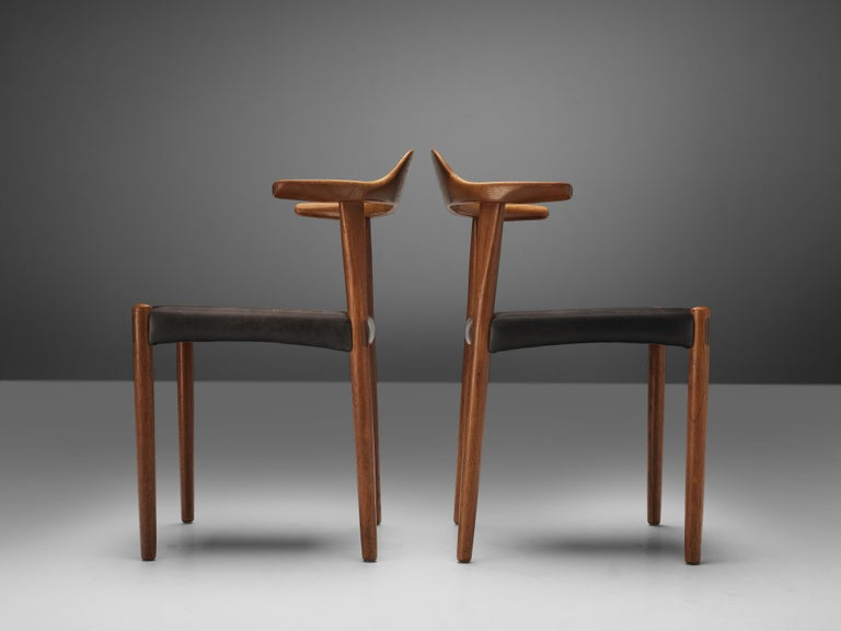Set of Six Danish 'Cow Horn' Dining Chairs in Teak and Black Leather 6
