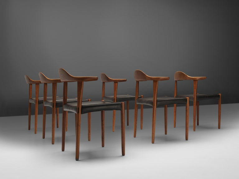 Set of Six Danish 'Cow Horn' Dining Chairs in Teak and Black Leather 7