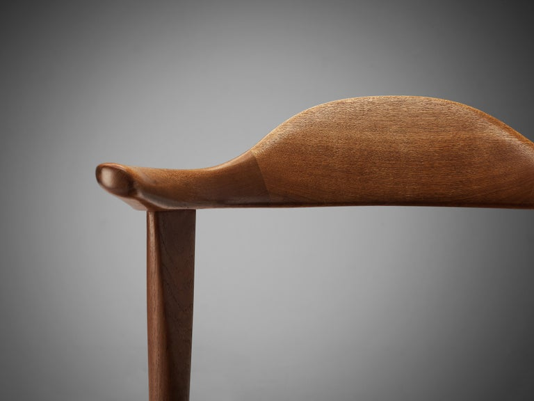 Set of Six Danish 'Cow Horn' Dining Chairs in Teak and Black Leather 8
