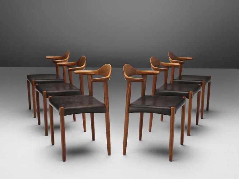 Set of six dining chairs, teak, leather, Denmark, 1960s