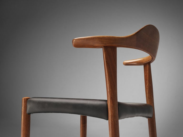 Scandinavian Modern Set of Six Danish 'Cow Horn' Dining Chairs in Teak and Black Leather