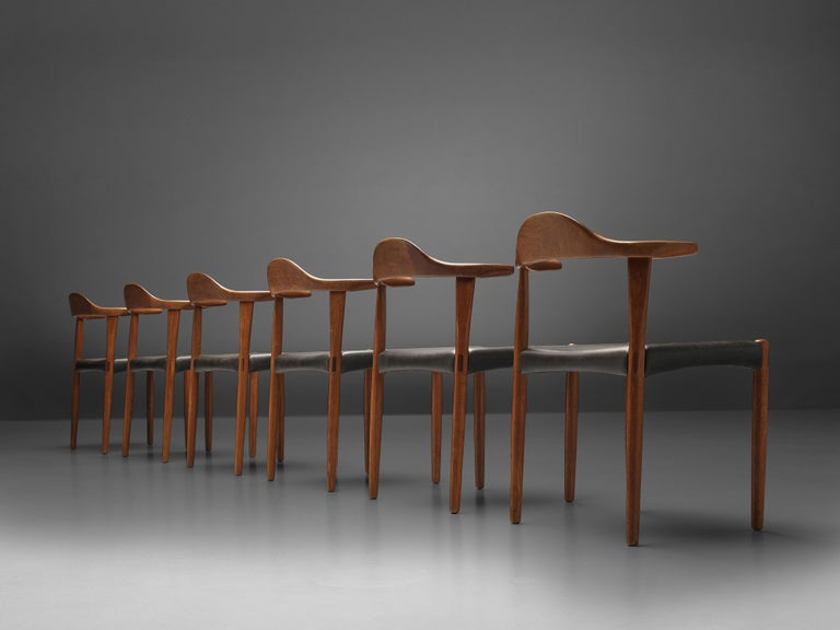 Set of Six Danish 'Cow Horn' Dining Chairs in Teak and Black Leather 1