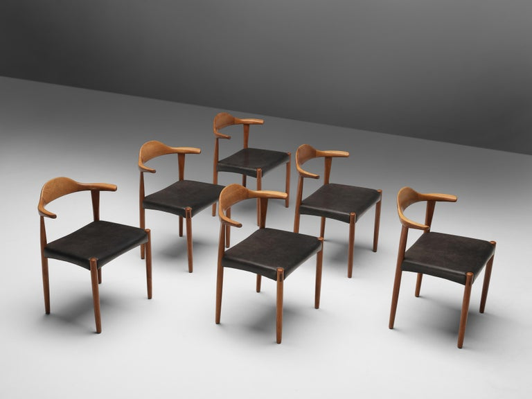 Set of Six Danish 'Cow Horn' Dining Chairs in Teak and Black Leather 3