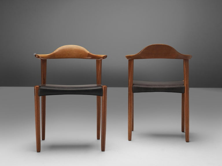 Set of Six Danish 'Cow Horn' Dining Chairs in Teak and Black Leather 4