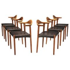 Set of Six Danish 'Cow Horn' Dining Chairs in Teak and Black Leather