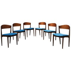 Set of Six Danish Dining Chairs in Azure Velvet, 1960s