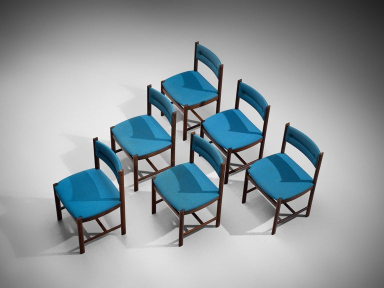 Six dining chairs, rosewood and fabric, to be reupholstered, Denmark, 1960s  This set of dining chairs is functional and well-made. The set exists of 6 chairs and is executed with a rosewood, modest frame. The lining of these well-executed chairs is
