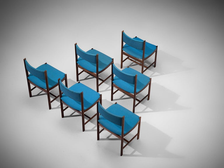 Scandinavian Modern Set of Six Danish Dining Chairs in Rosewood and Blue Upholstery