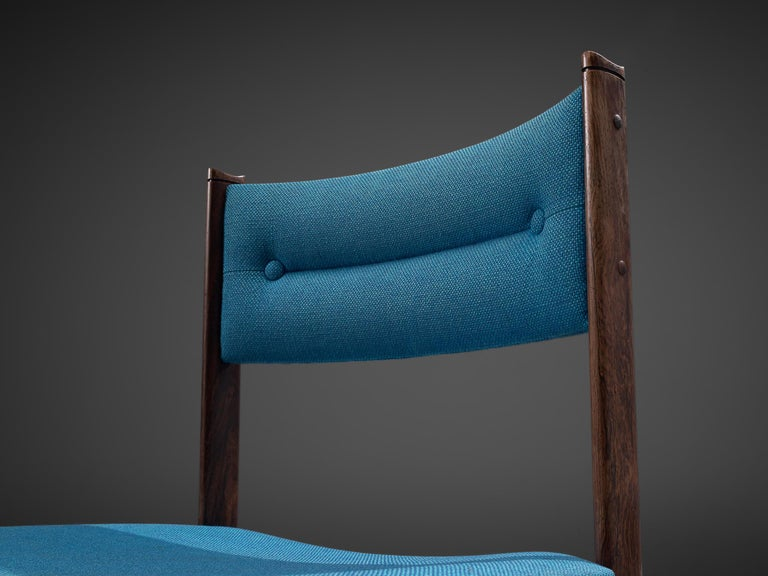 Set of Six Danish Dining Chairs in Rosewood and Blue Upholstery In Good Condition In Waalwijk, NL