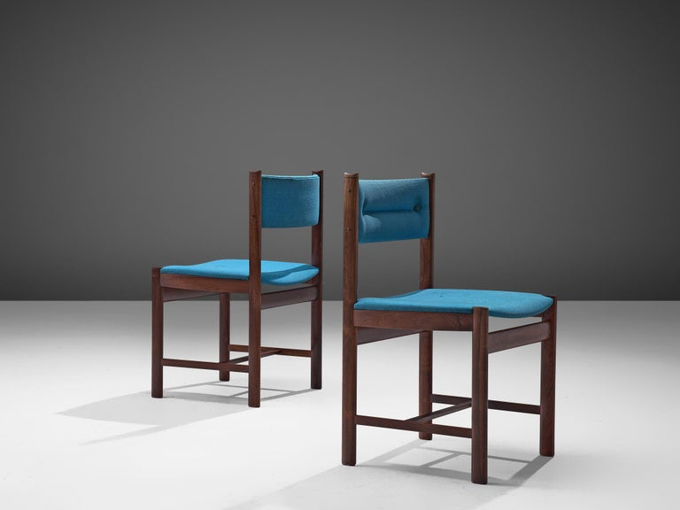 Mid-20th Century Set of Six Danish Dining Chairs in Rosewood and Blue Upholstery
