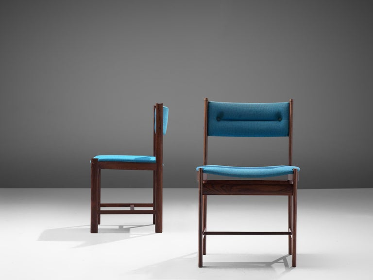 Fabric Set of Six Danish Dining Chairs in Rosewood and Blue Upholstery