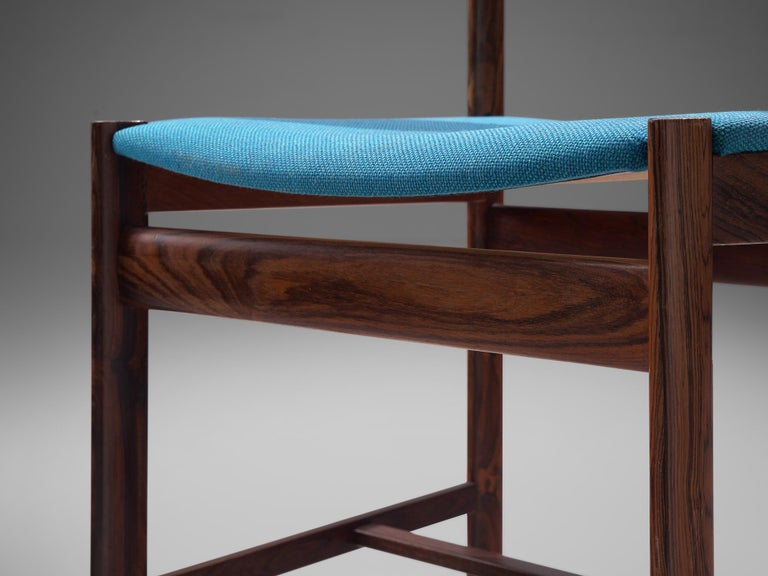 Set of Six Danish Dining Chairs in Rosewood and Blue Upholstery 1