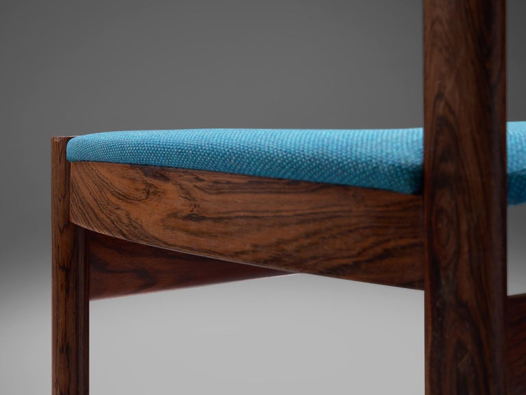 Set of Six Danish Dining Chairs in Rosewood and Blue Upholstery 2