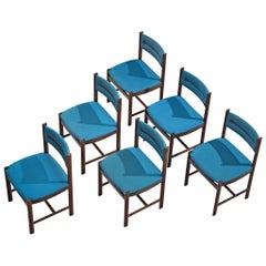 Set of Six Danish Dining Chairs in Rosewood and Blue Upholstery
