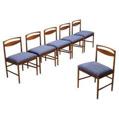 Set of Six Danish Dining Chairs in Teak and Blue Upholstery