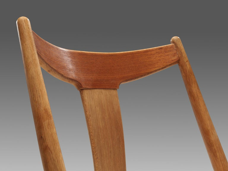 Set of Six Danish Dining Chairs in Teak and Oak For Sale 4