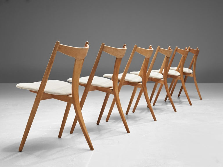 Set of Six Danish Dining Chairs in Teak and Oak In Good Condition For Sale In Waalwijk, NL