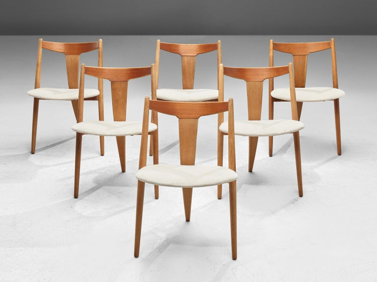Fabric Set of Six Danish Dining Chairs in Teak and Oak For Sale