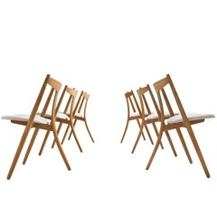 Set of Six Danish Dining Chairs in Teak and Oak