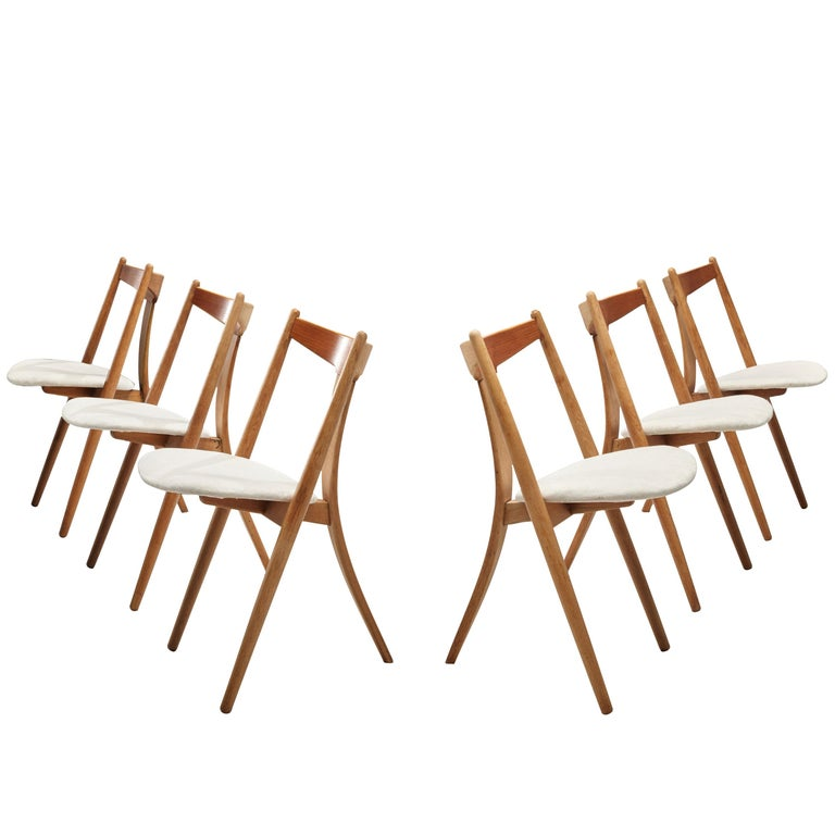 Set of Six Danish Dining Chairs in Teak and Oak For Sale
