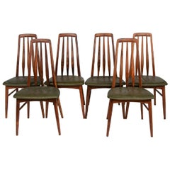 Set of Six Danish Eva Chairs for Niels Koefoeds Hornslet, c.1960s