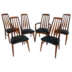 "Set of Six Danish High Back Dining Chairs, Koefoeds Hornslet ""Eva"", circa 1960s"