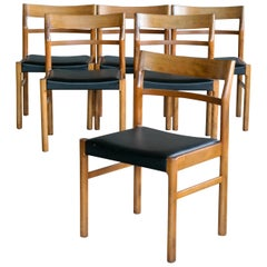 Set of Six Danish Midcentury Dining Chairs with Leather Seats by Slagelse