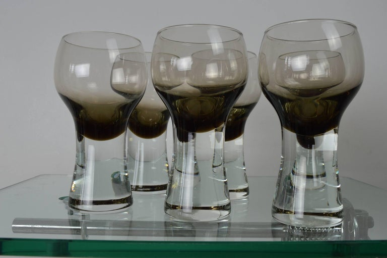 Mid-Century Modern Set of Six Caithness Midcentury Drinking Glasses For Sale