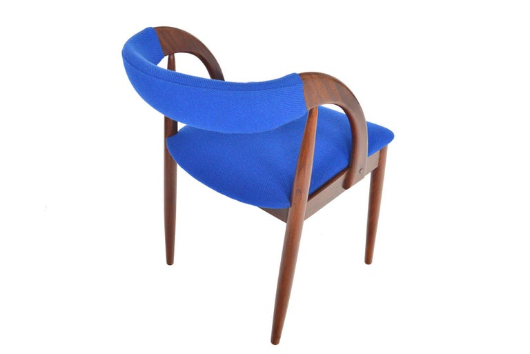 Wool Set of Six Danish Mid-Century Modern Walnut Dining Chairs