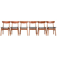 Set of Six Danish Modern Dining Chairs by Farstrup in Teak and Beech, 1960s
