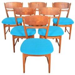 Set of Six Danish Modern Helge Sibast Teak and Oak Dining Chairs