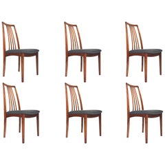 Set of Six Danish  Modern Highback Rosewood Dining Chairs