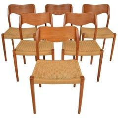 Set of Six Danish Modern J.L. Moller Model 71 Teak and Paper Cord Dining Chairs