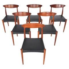 Set of Six Danish Modern MK 310 Dining Chairs in Teak by Arne Hovmand Olsen