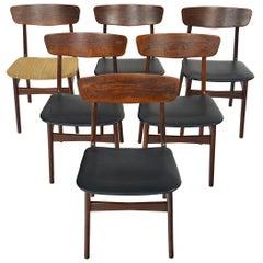 Set of Six Danish Modern Rosewood Dining Chairs, Mid-Century Modern