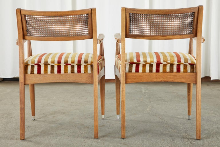 Velvet Set of Six Danish Modern Style Walnut Dining Chairs