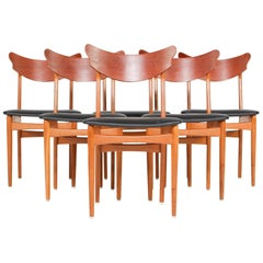 Set of Six Danish Modern Winged Teak and Oak Dining Chairs
