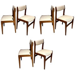 Set of Six Danish Modern Wooden Dining Chairs with White Covers