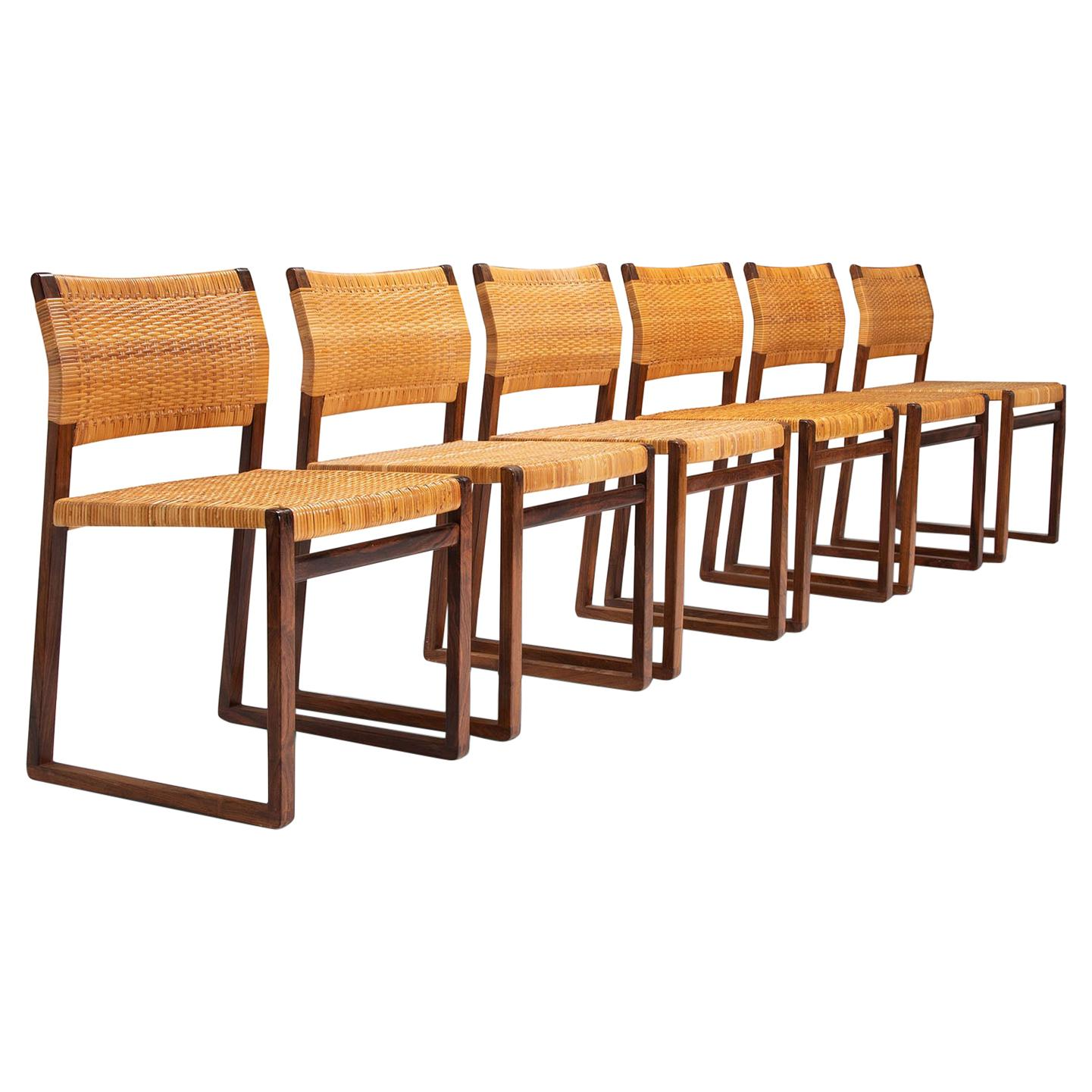 Set of Six Danish Rosewood Dining Chairs by Børge Mogensen