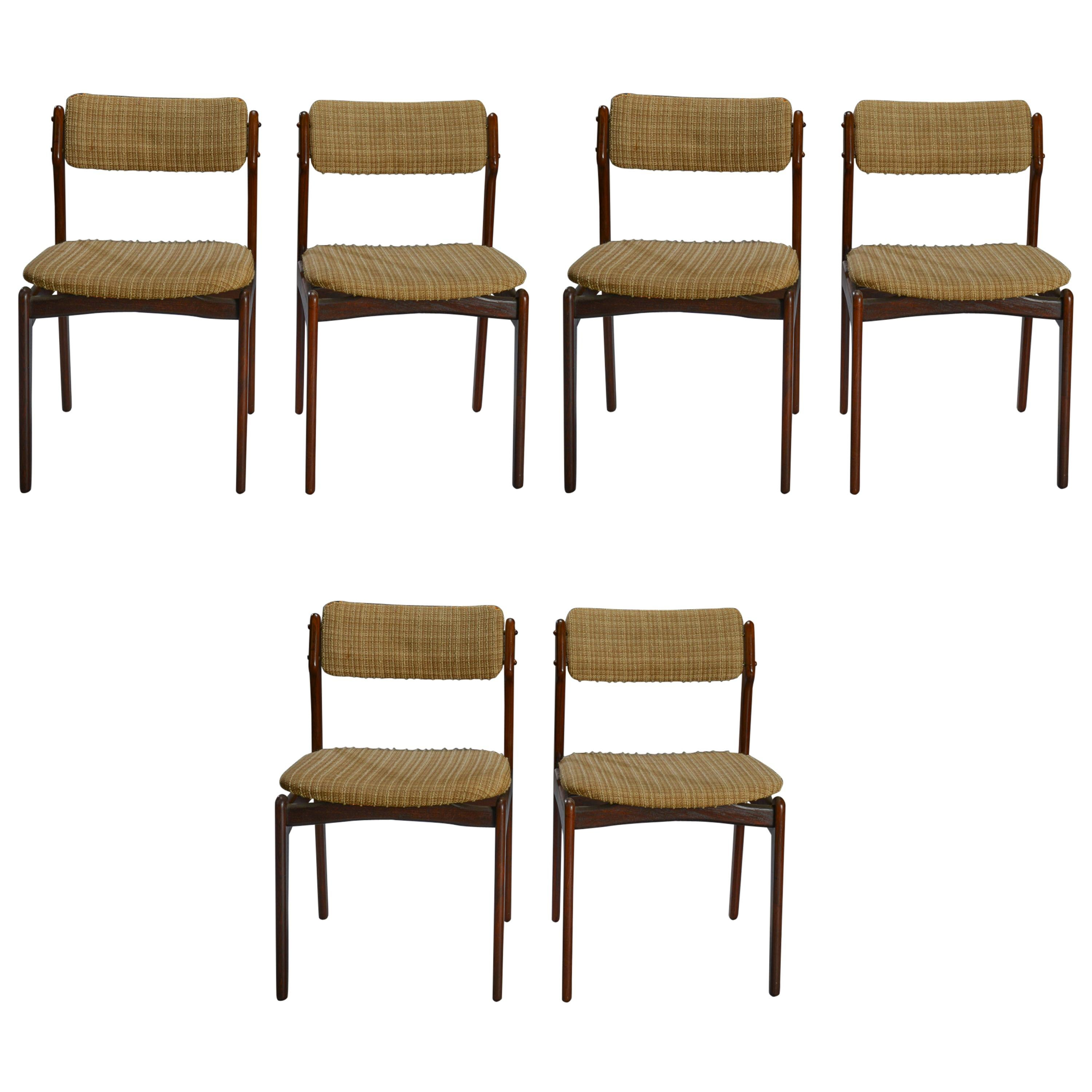 Set of Six Danish Rosewood Dining Chairs by Erik Buch