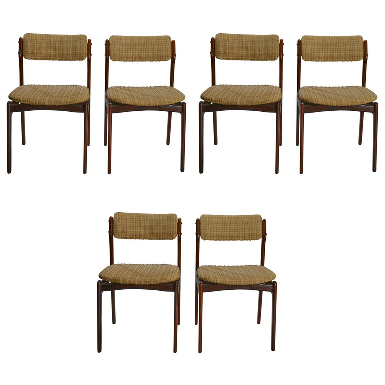 Set of Six Danish Rosewood Dining Chairs by Erik Buch For Sale