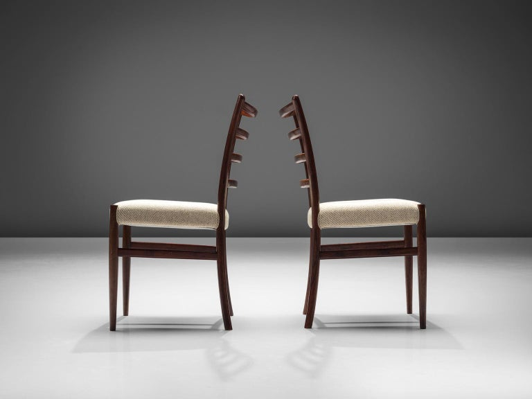 Fabric Set of Six Danish Rosewood Dining Chairs