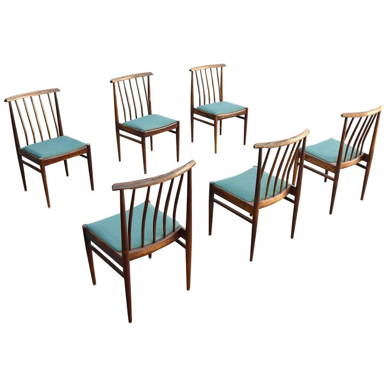 Set Of Six Danish Solid Rosewood Dining Chairs With