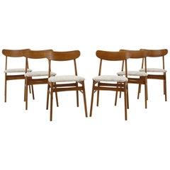 Set of Six Danish Teak Dining Chairs, 1960s