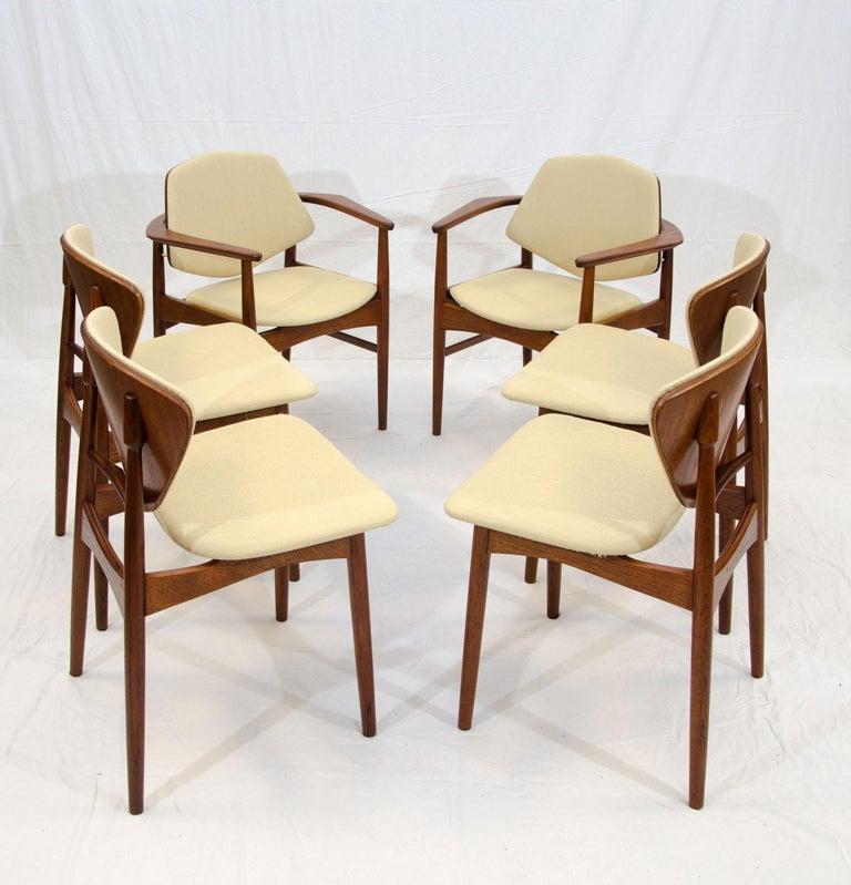 Scandinavian Modern Set of Six Danish Teak Dining Chairs, Arne Hovmand Olsen For Sale
