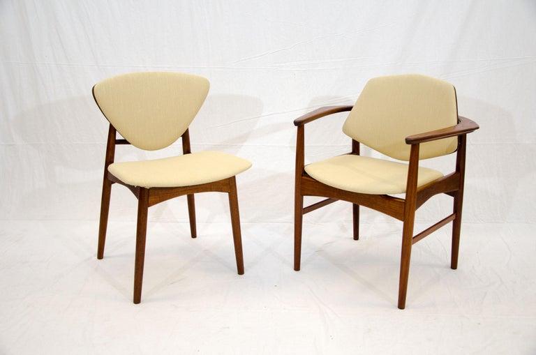 Fabric Set of Six Danish Teak Dining Chairs, Arne Hovmand Olsen For Sale