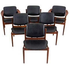 Set of Six Danish Teak Dining Chairs by Arne Vodder for Bovirke, BO92