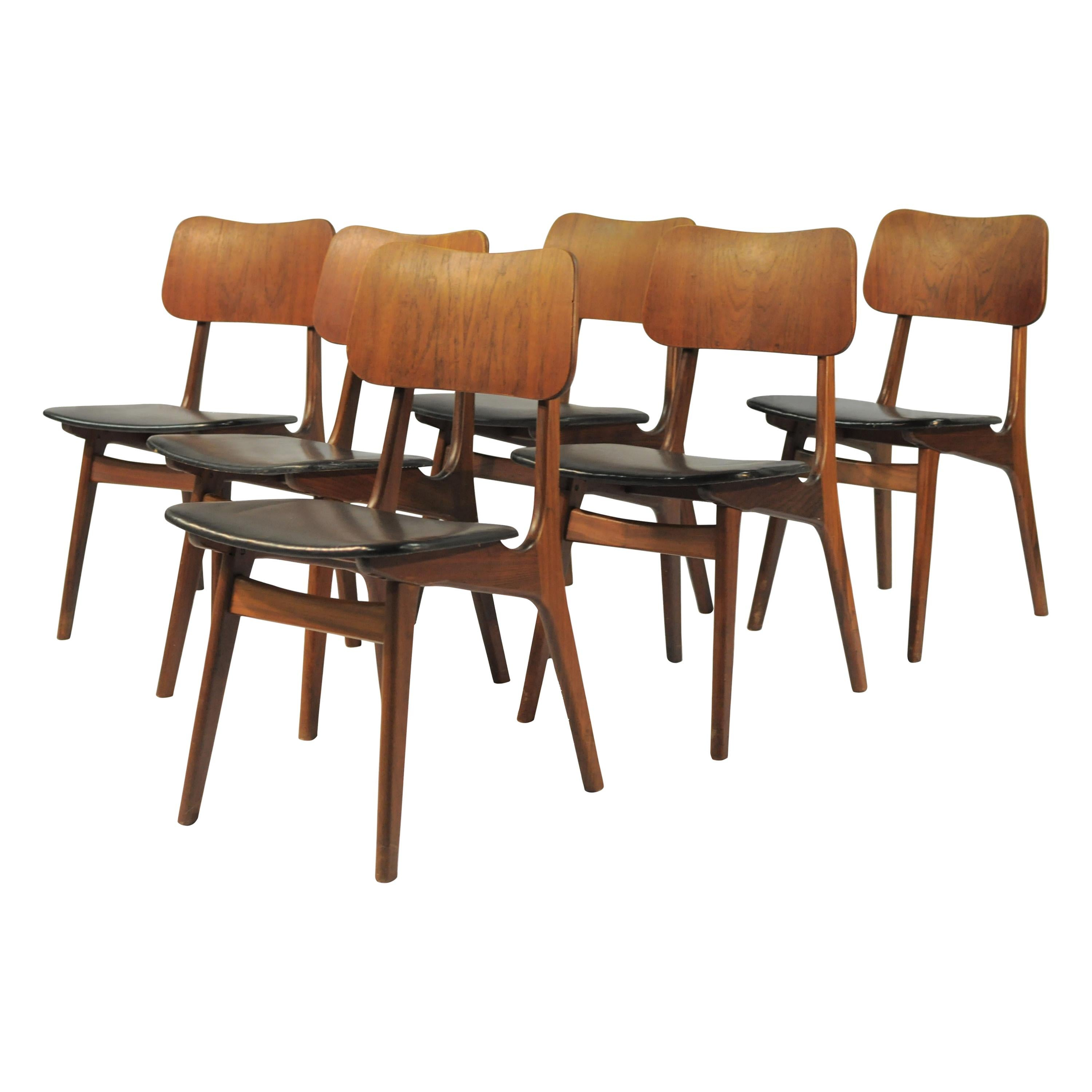 Set of Six Danish Teak Dining Chairs by Boltinge Stole, Inc. Reupholstery