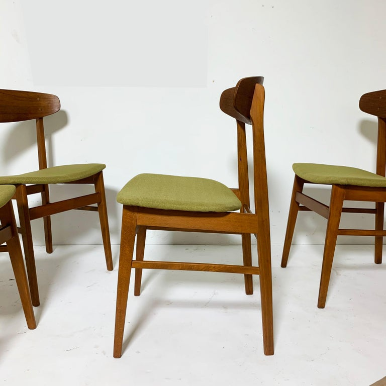 Set of Six Danish Teak Dining Chairs by SAX, circa 1960s In Good Condition In Peabody, MA